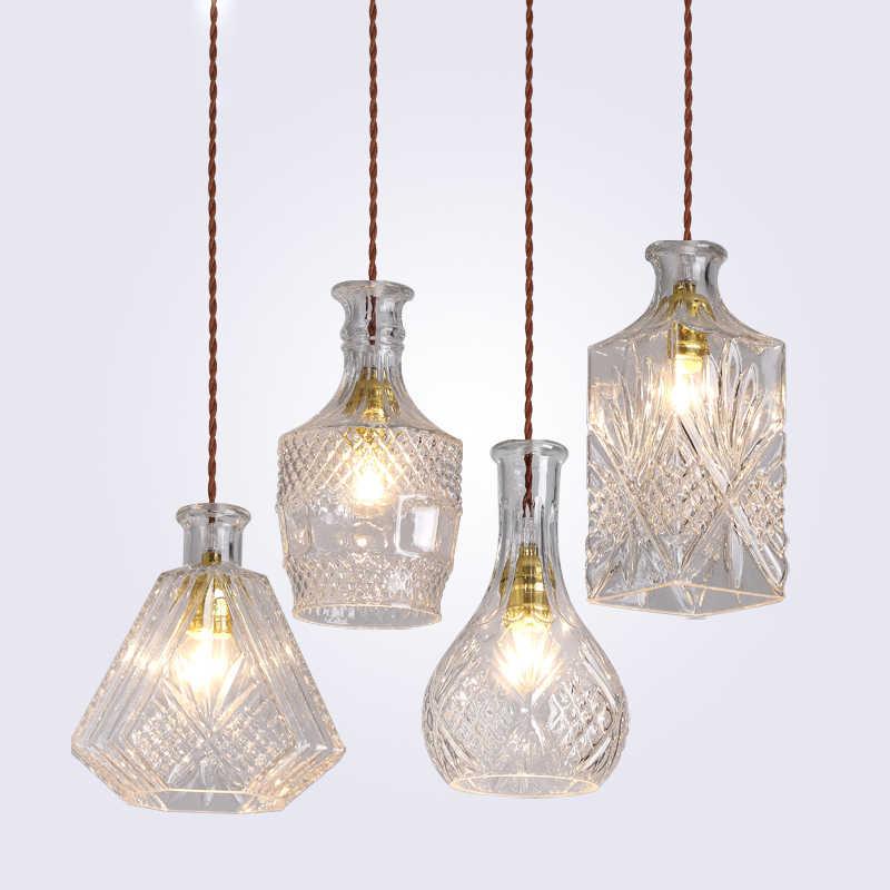 Современный минималистичный винтажный подвесной светильник в виде бутылки вина, лампа для кафе/бара, одинарные стеклянные подвесные лампы для украшения внутреннего освещения E27