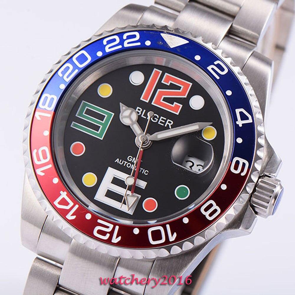 40mm Bliger Black dial Blue & Red Bezel date window Sapphire Glass SS Case Luminous Hands GMT Automatic Mechanical Men's Watch цена и фото
