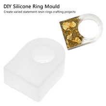 Handmade Mold Transparent Silicone Ring Mould For Epoxy Resin With Real Flower Herbarium DIY Square Head Flowers