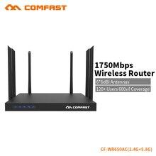 Gigabit 1750 Mbps COMFAST wifi de alta potencia del router 6 antenas 2.4G + 5.8G punto de acceso apoyar openwrt inglés firmware CF-WR650AC