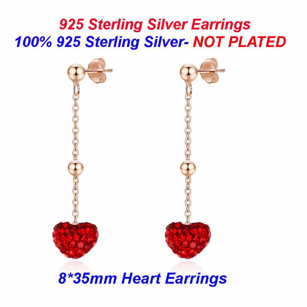 100% 925 Sterling Silver Heart STUD ต่างหู Vnistar หัวใจคริสตัลสีแดง EAR Studs ขายส่งผู้หญิงต่างหูสตั๊ดเงิน