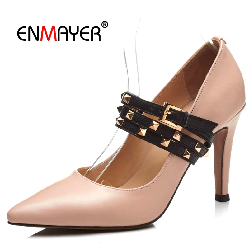Enmayer  Genuine Leather  Pointed Toe  Women Fashion High Heel Pumps Basic  Casual  Slip-On  Woman Shoes Size 34-40 LY471Enmayer  Genuine Leather  Pointed Toe  Women Fashion High Heel Pumps Basic  Casual  Slip-On  Woman Shoes Size 34-40 LY471