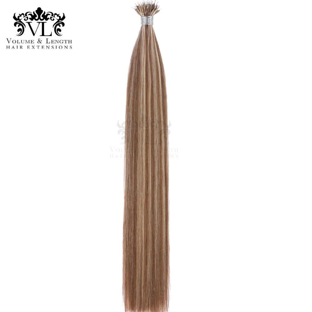 """VL Önceden Bağlı Nano İpucu 100% Remy saç ekleme 14 """"18"""" 50 g/paket Düz Saç Orta Kahverengi Salon Atkı ücretsiz kargo VL11N"""
