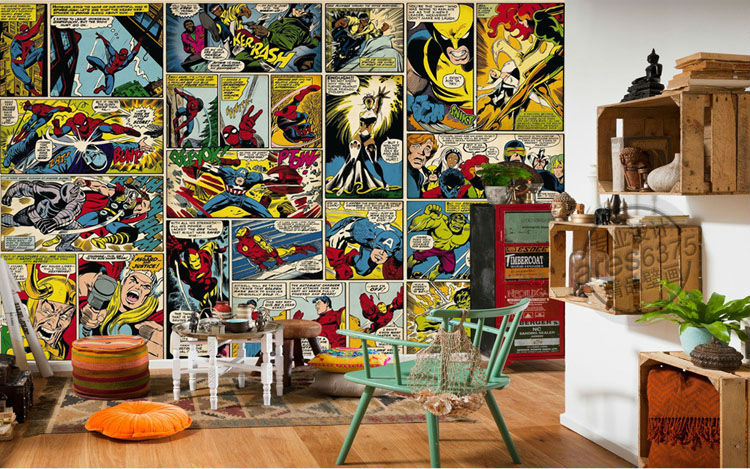 Marvel Comics Wallpaper Custom 3D Wall Murals Captain America Photo  Wallpaper Kids Boys Bedroom Office Shop Art Room Decor Hulk In Wallpapers  From Home ... Images