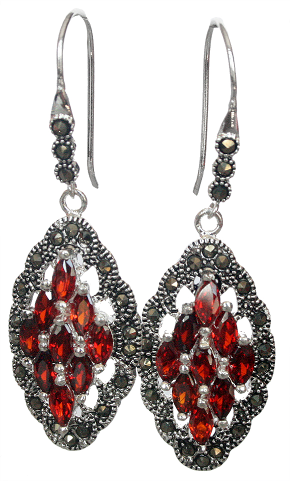 """FREE SHIPPING Genuine 925 Silver Red Crystal Art Style Marcasite Earrings 2"""""""
