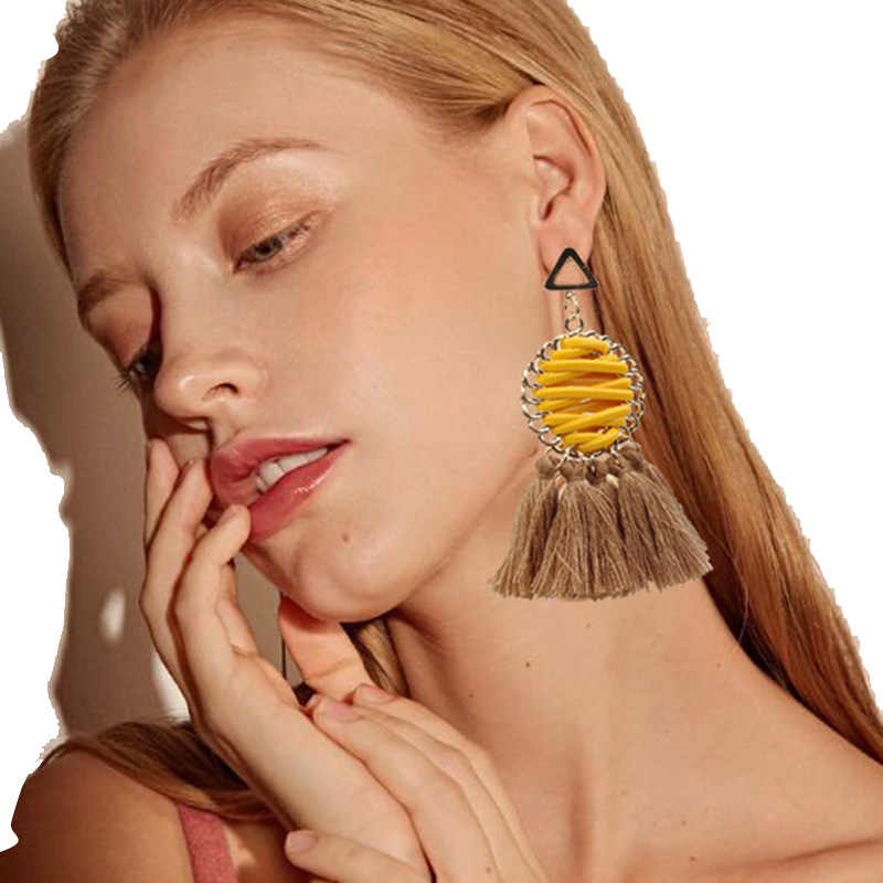 RscvonM 11 Color Dangle Earrings Hand-Woven Bohemian Long Statement Tassel Drop Earrings Triangle Luxury Earrings For Women