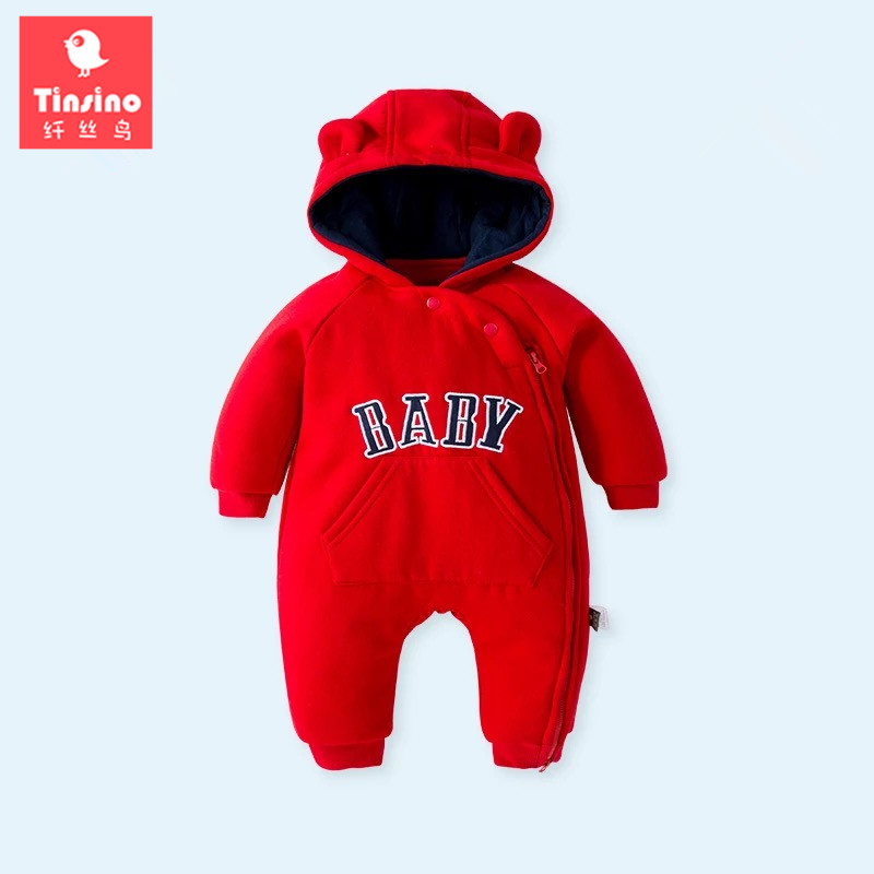 Tinsino Newborn Baby Girls Boys Winter Rompers Infant Autumn Hooded Jumpsuits Toddler Baby Spring Rompers New Born Baby Clothing baby climb clothing newborn boys girls warm romper spring autumn winter baby cotton knit jumpsuits 0 18m long sleeves rompers