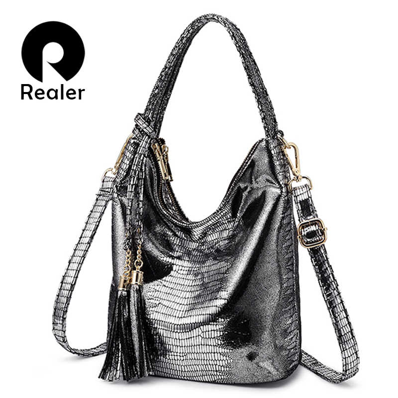 REALER women shoulder bag handbags female casual totes PU serpentine print good quality big capacity with tassel silver gold
