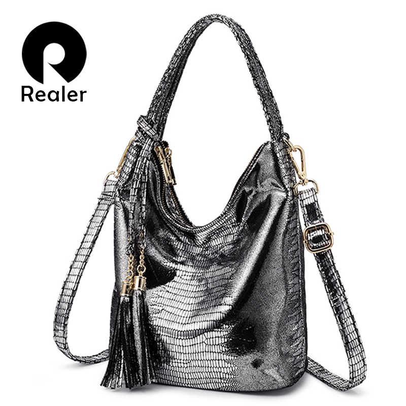 facffefd REALER женская сумка с короткими ручками из искусственной кожи, сумочка  через плечо с кисточкой для