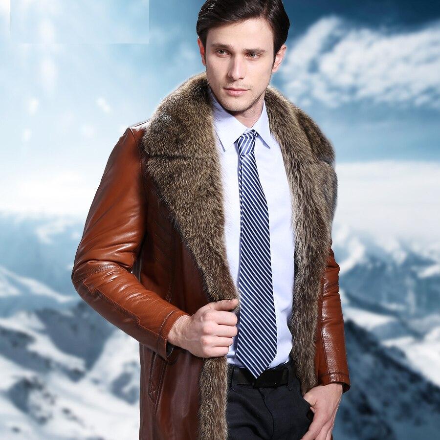 Зимняя мода 2016 г. для мужчин из натуральной Австралии овчины мех животных длинное пальто и куртка мужской толстый теплая одежда коричневы