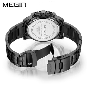 Image 3 - MEGIR мужские s часы лучший бренд класса люкс черные из нержавеющей стали бизнес Кварцевые часы мужские часы Relogio Masculino Erkek Kol Saati