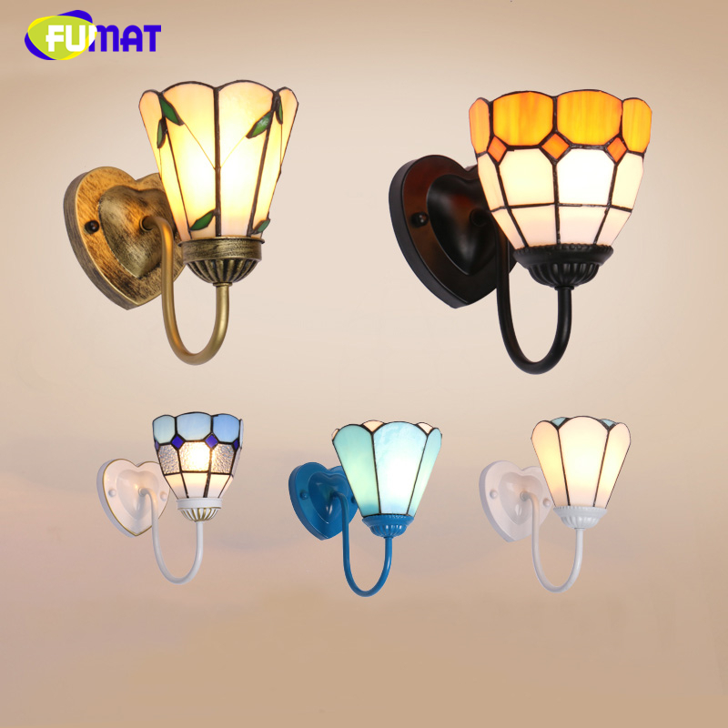FUMAT Stained Glass Wall Lamp Sconces Pastoral Style Blue Glass Shade Light For Living Room Art Corridor Bedside LED Wall Lights fumat stained glass roses lightings modern art pendant light for living room restaurant lamp european style pendant lamp lights