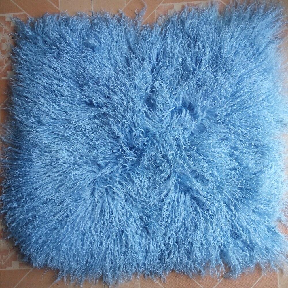 Real Blue Mongolian Fur Cushion Cover Decorative Throw