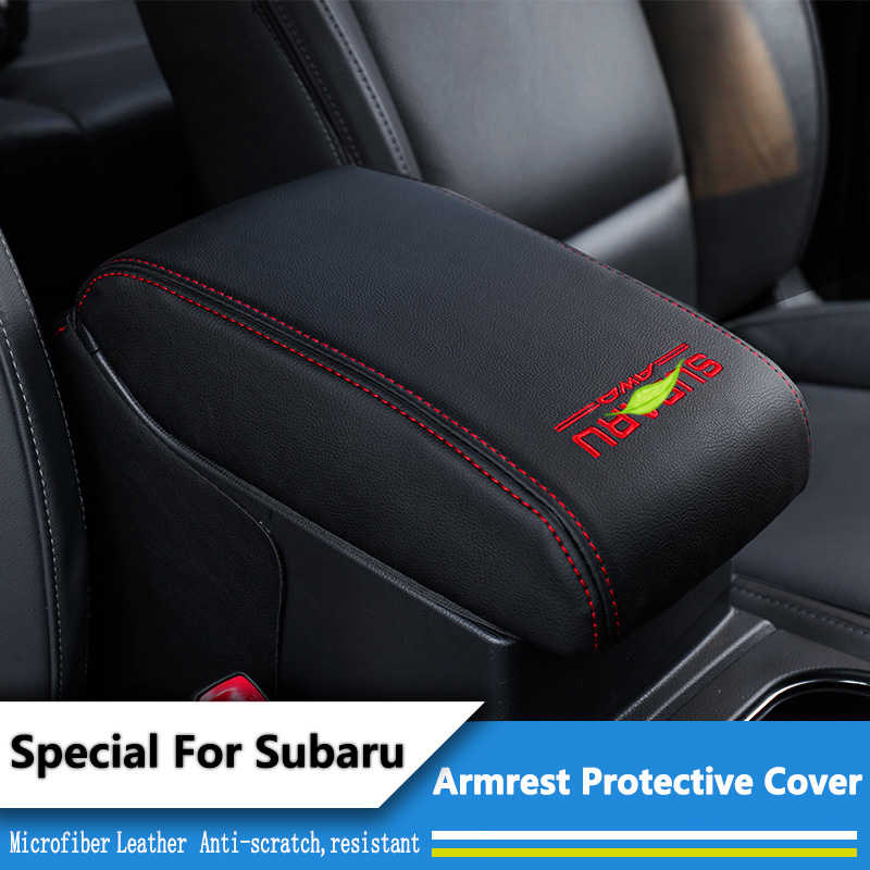 Microfiber Leather Car Console Armrest Box Sleeve Cover Center Storage Box Cove For Subaru Forester 2013-2017 Outback 2015-2017