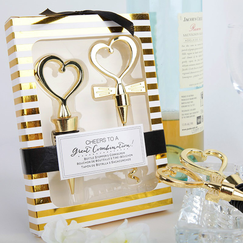 6boxes12pcs New Gold Color Bride And Groom Bottle Stopper And