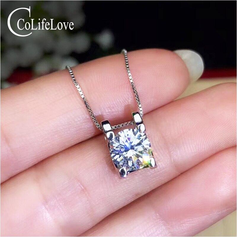 CoLife Jewelry Classic Moissanite Pendant 1 5ct Real D Color VVS1 Grade Moissanite Silver Pendant 925