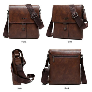 Image 4 - JEEP BULUO Brand Mens Bags Split Leather Fashion Male Messenger Bags Man Casual Crossbody Shoulder Bag For iPad Mini Classic