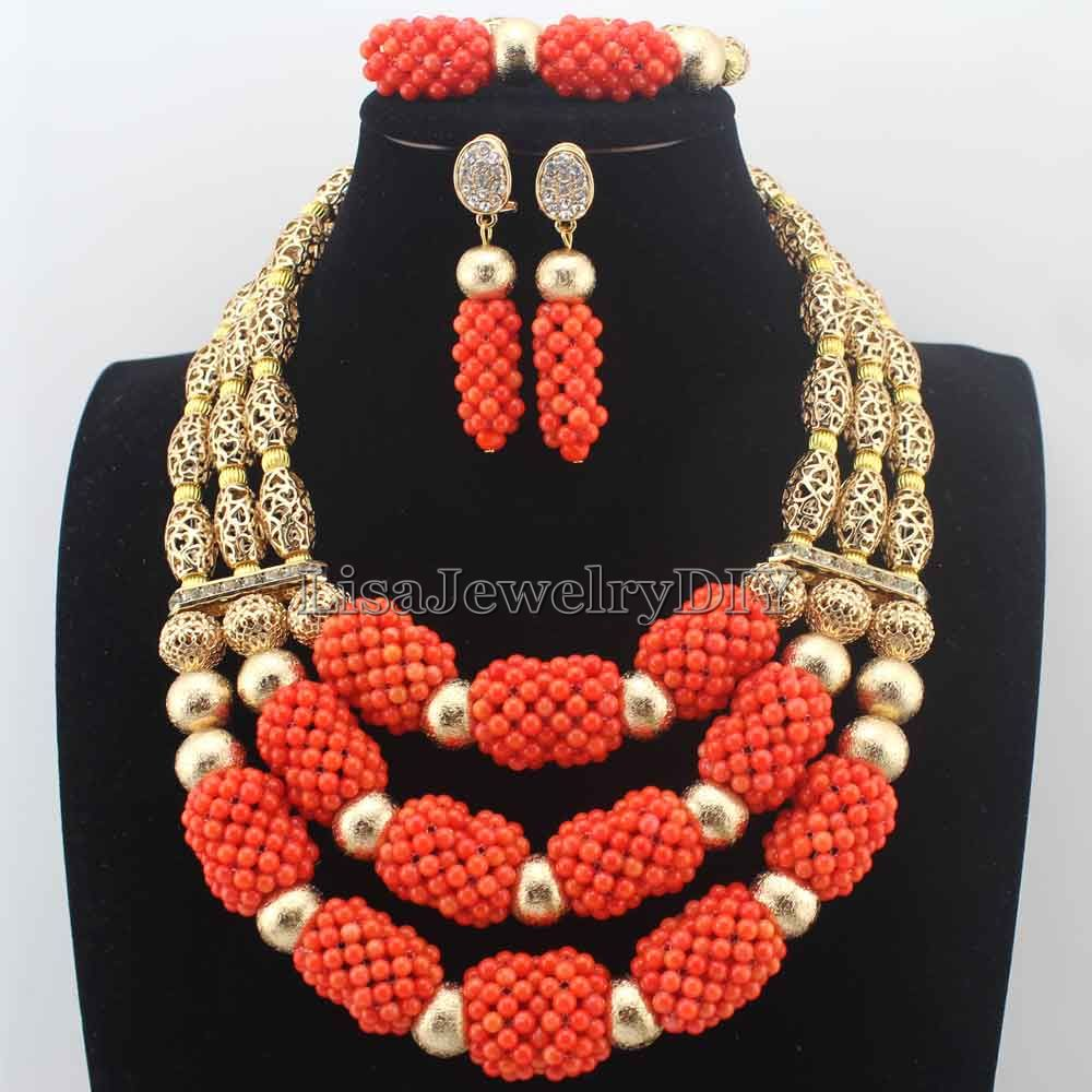 Latest African Coral Jewelry Beads Set Luxury 3 Steps Nigerian ...
