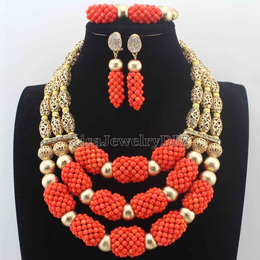 Latest African Coral Jewelry Beads Set Luxury 3 Steps Nigerian Wedding Bridal Statement Jewelry Set Christmas Women Gift HD8658