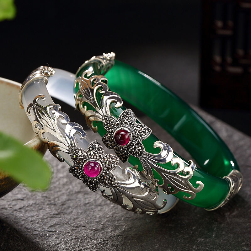 L&P Luxury Ladys Bangles Chalcedony Vintage Real 925 Sterling Silver Bangles&Bracelets Bijoux Best GiftL&P Luxury Ladys Bangles Chalcedony Vintage Real 925 Sterling Silver Bangles&Bracelets Bijoux Best Gift