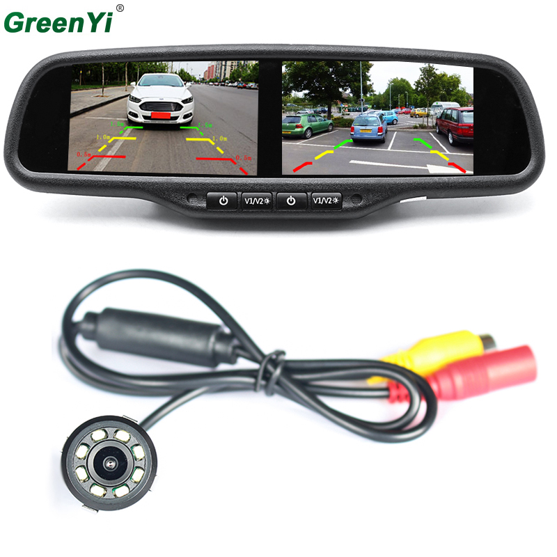 4.3 Dual 800*480 Screen Car Rear View Mirror Monitor Video Player With 8 LED lights Car Reverse Rearview Backup Parking Camera аккумуляторная воздуходувка greenworks 40v g40bl 24107