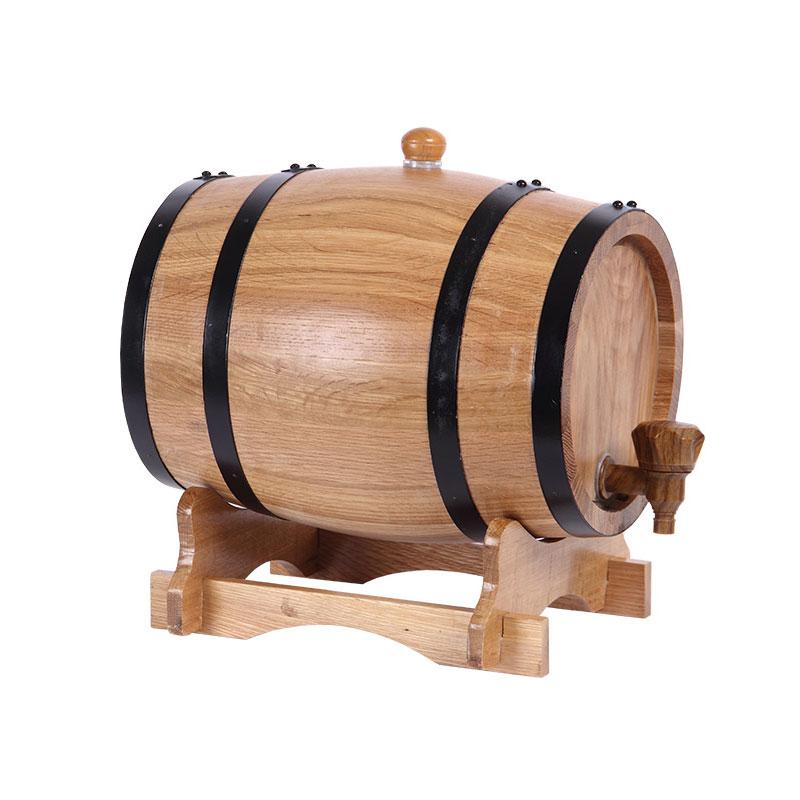 XMT HOME บริสุทธิ์โอ๊กถังไวน์ถังไม้แอลกอฮอล์เหล้าบรั่นดีถังไวน์ขนาดเล็กถังไม่มีถังด้านใน 3L/5L-ใน การทำไวน์ จาก บ้านและสวน บน   1