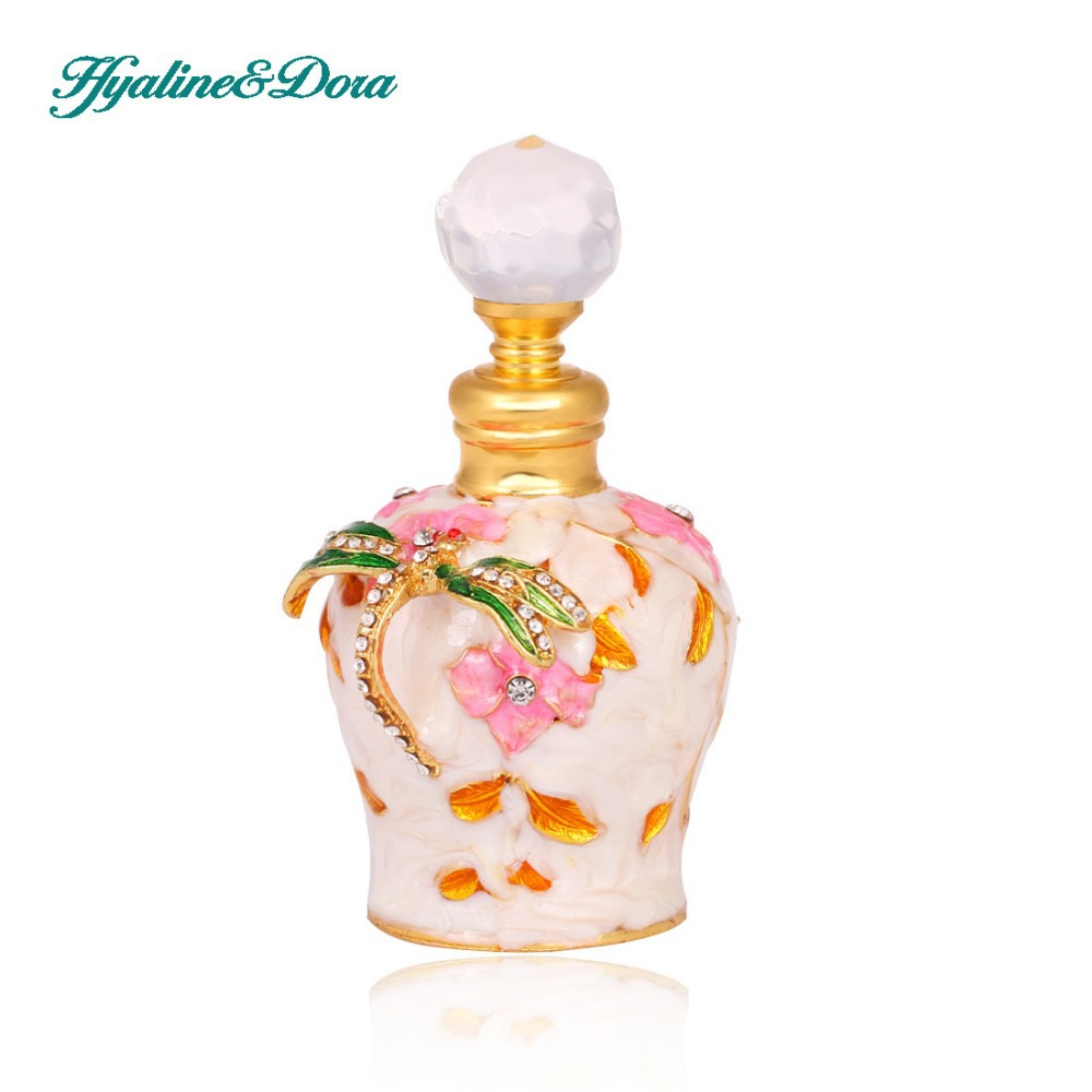 Dragonfly Design Retro 5ml Graven Metal and Glass Empty Container Refillable Portable Gift Perfume Bottle Home Decoration alcohol and liquid container bottle white 180ml