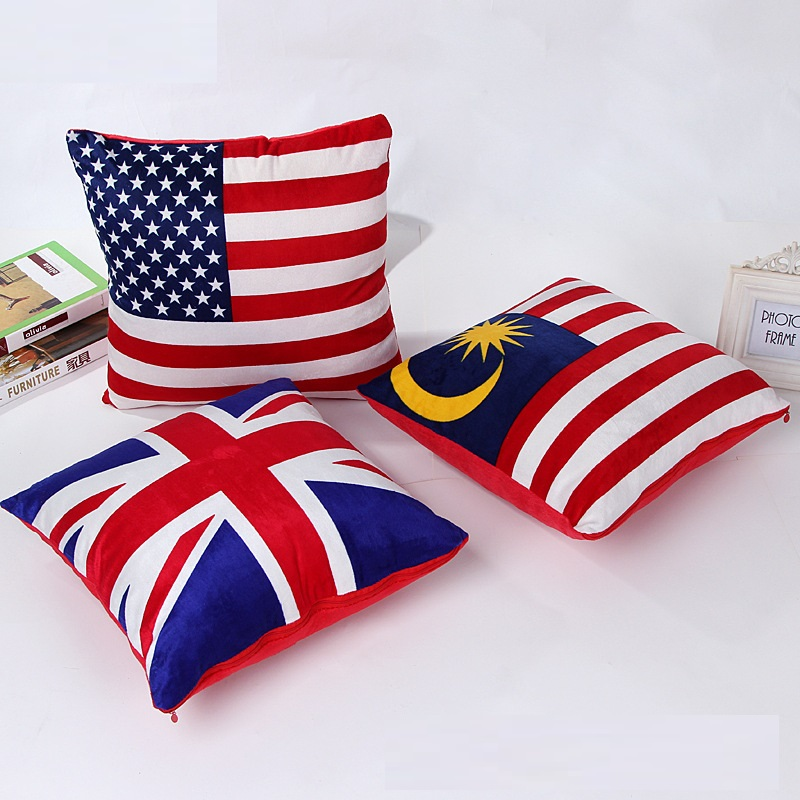 CAMMITEVER American Flag UK Malaysia Cushion Home Square Plush Sofa Cushion Covers Decorative Pillow Cases Throw