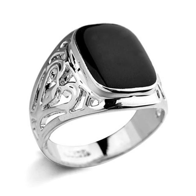 diamond three rings side simulated products silver black wedding engagement aeng jewelry stone
