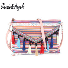 Jiessie&Angela Fashion New Envelope Bag Women Canvas Handbags With Tassel Ladys Messenger Bags  Crossbody Bolsas