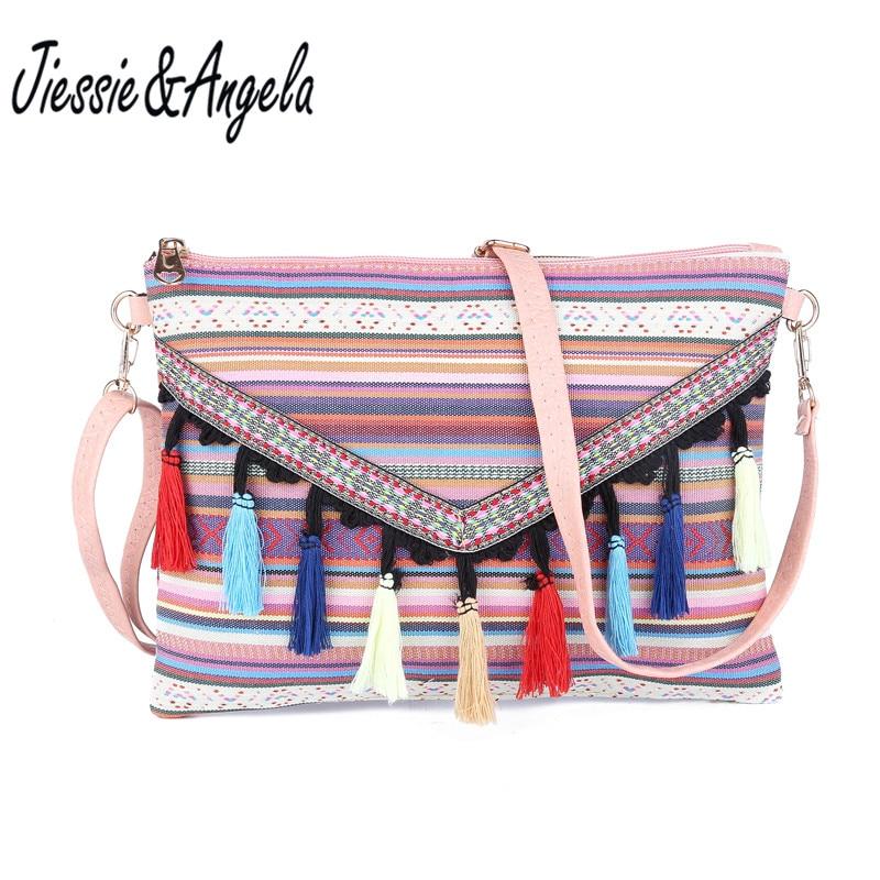 Jiessie&Angela Fashion Women Canvas Handbags With Tassel Ladys Messenger Bags Crossbody Bag Femal Shoulder Bag Bolsas