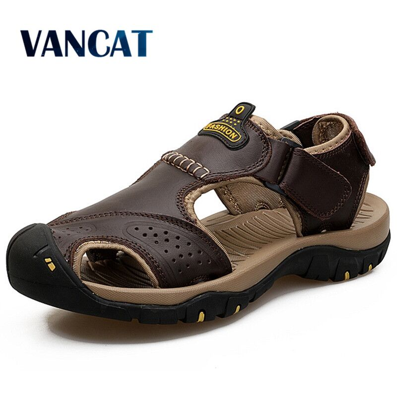 Vancat 2019 Summer Genuine Leather Outdoor Men's Shoes Men Sandals For Male Casual Shoes Water Walking Beach Sandalias Sandal
