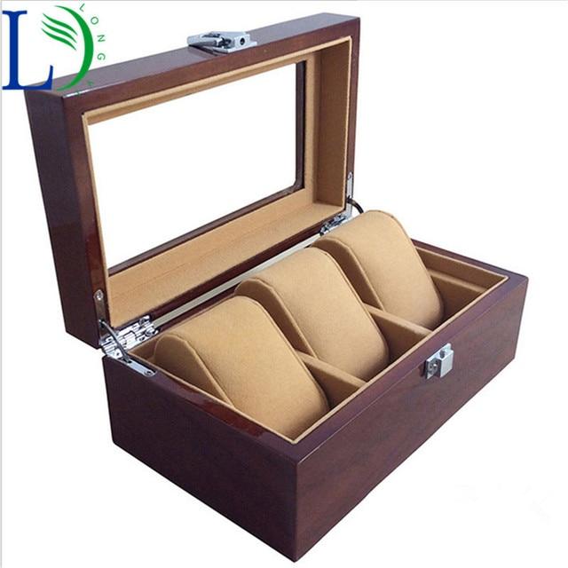 High Luxury 3 Slots Wood Watch Box Window Box 3 Grids Jewelry