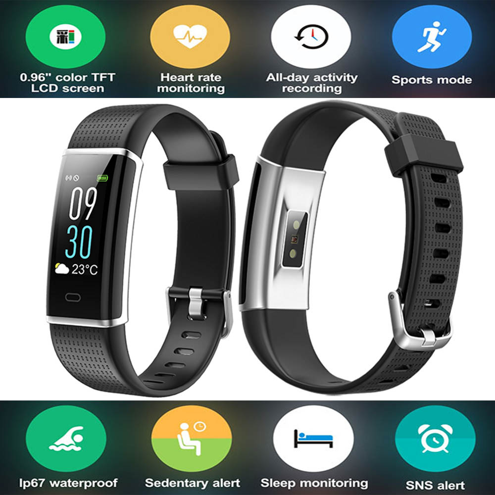 Color Screen Smart Wristband Band Sport Bracelet Heart Rate Carories Activity Fitness Tracker for Huawei Ascend P8 Lite Mate S 9