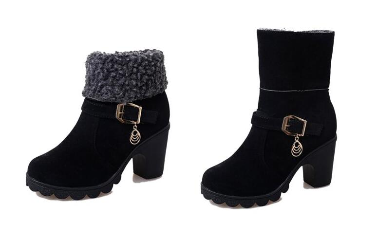 Botas Invierno marrón Alto Mujeres Ocasionales Mujer 35 Cpi rojo Nuevo Negro De Las 46 41 Nieve Ac Tacón Zapatos t0Tqw