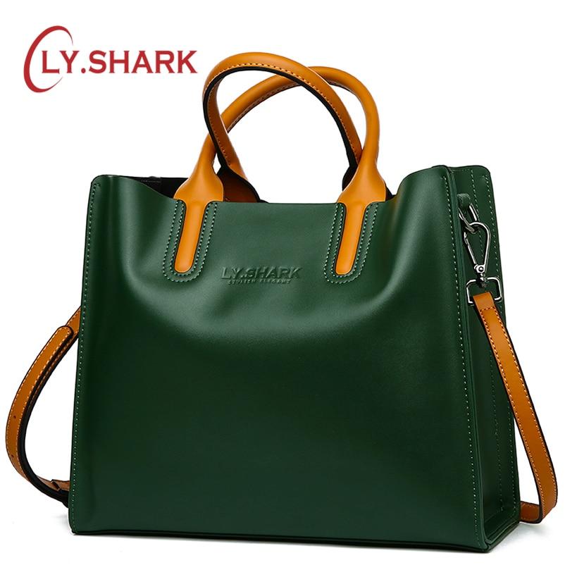 LY SHARK Big Messenger Bag Women Shoulder Bags Female Bag Ladies Genuine Leather Bags For Women