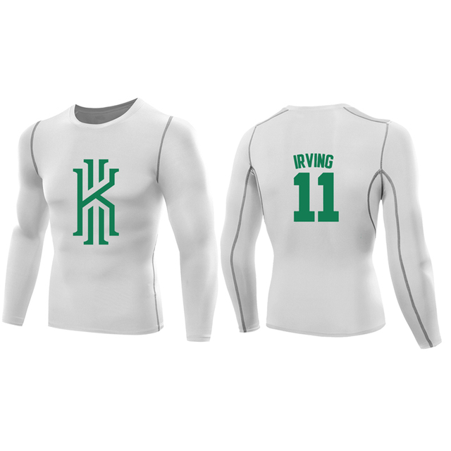 quality design ae43c 8e4c2 US $15.73 15% OFF|kyrie irving jersey t shirt compression shirt men long  sleeves kyrie irving t shirts topswear kyrie irving 11 tshirt boston 2 3-in  ...