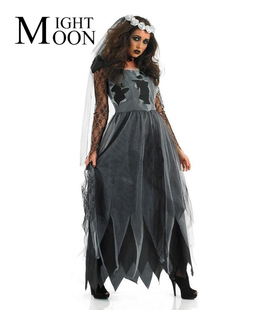 a9d4f47c09af1 US $16.16 29% OFF|MOONIGHT Fallen Bridge Costume Women's Corpse Bride Dress  Cosplay Costume Creepy Party Zombie Costumes-in Scary Costumes from ...