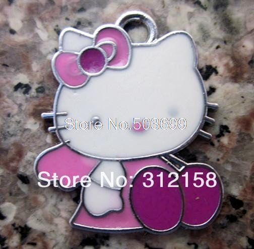 S87836! Wholesale 100Pcs/Lots DIY Alloy Enamel pink sit hello kitty Charms Metal Charms