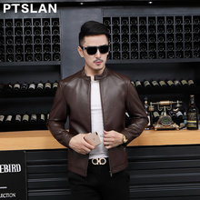Ptslan Men's Genuine Leather Jacket Real Lambskin Coat