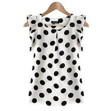 Women Summer Casual Polka Dot Round Neck Short Sleeve Shirt Top Chiffon Blouse цена в Москве и Питере