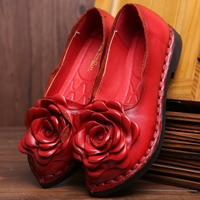 2018 Spring And Autumn New Handmade Leather Large Size Mother Shoes Flat With Leather Flowers Womens