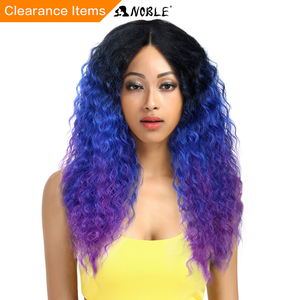 Image 1 - Noble Hair Lace Front Ombre Blonde Wig 26inch Long Curl Synthetic Wigs For Black Women 16 COLOUR Free Shipping