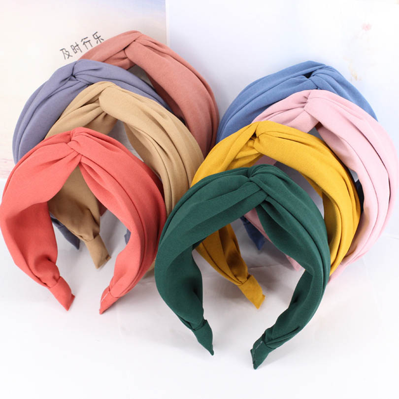 Haimeikang Fashion Women Cross Hair Bands For Girls Headband Knotted Hair Accessories Solid Color
