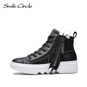 Image 3 - Smile Circle Winter Sneakers Women High top chunky Shoes Thick bottom Flat platform Shoes Winter Warm plush Shoes High quality