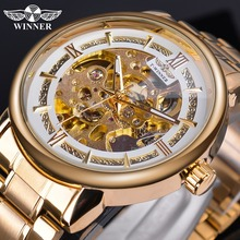 Winner Golden Top Brand Luxury Mechanical Watch Men's Auto Stainless Steel Strap Luminous Hands Skeleton Business Wrist Watches winner men mechanical wrist watch stainless steel strap skeleton roman number automatic self wind golden top brand luxury watch