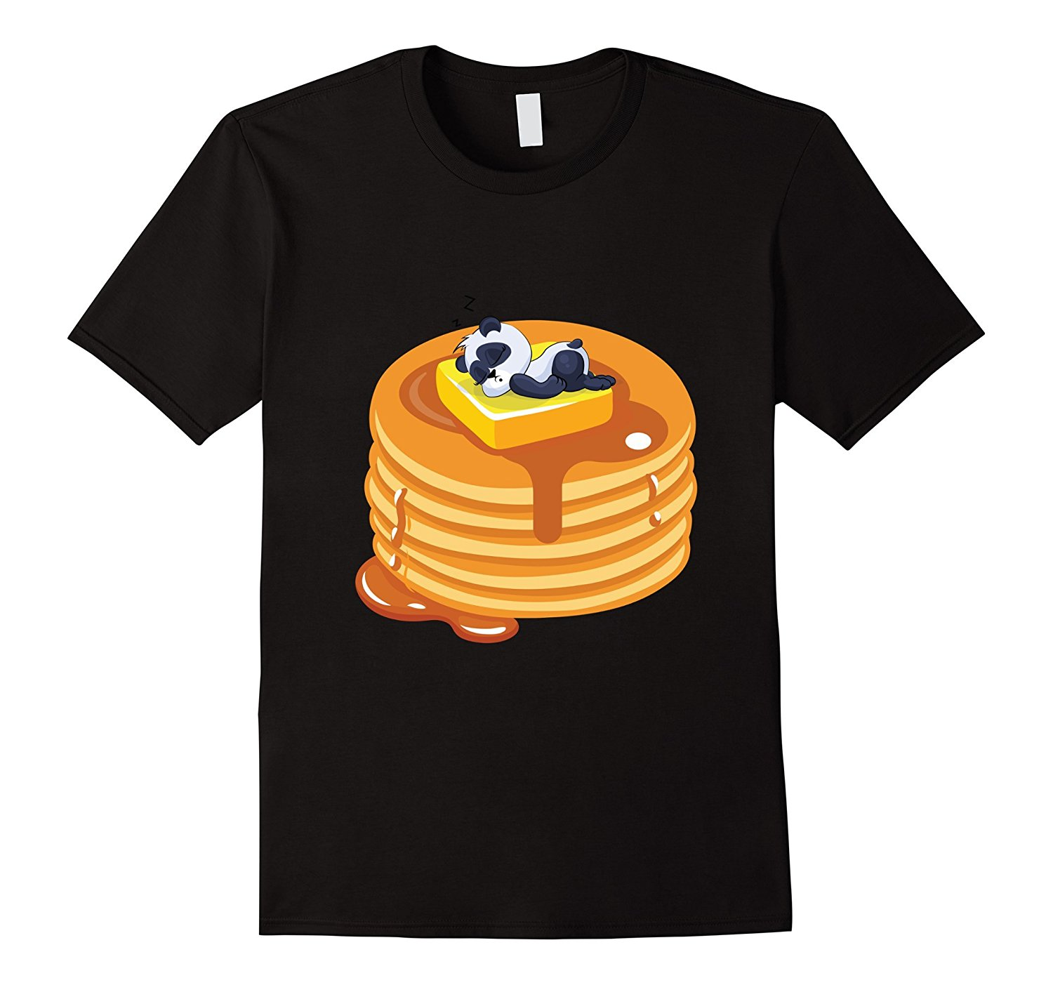 Baby Panda Resting on Top of Pancakes Cute Baker T-Shirt Tricolor Top Tee Tops Men Tee Shirts Top Tee Fashion Men T Shirt