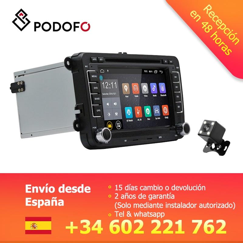 Pantalla мультимедиа Podofo VEUR 2Din Android аудио, DVD, GPS Совместимость con VW Golf Sharan con CANBUS