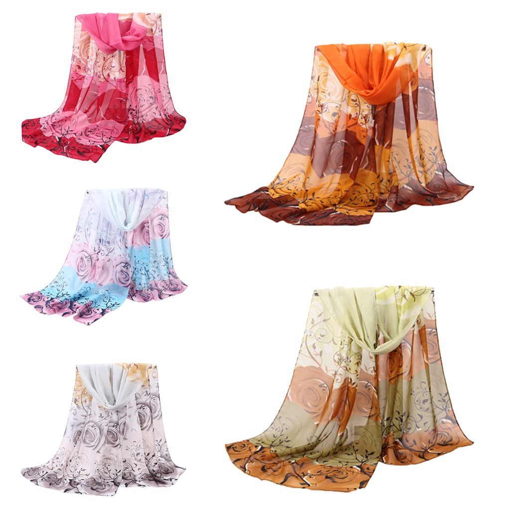 Women Girls Floral Print Chiffon Summer Anti Sunshine   Scarf   Shawls Long Beach   Scarves     Wraps   47x155cm
