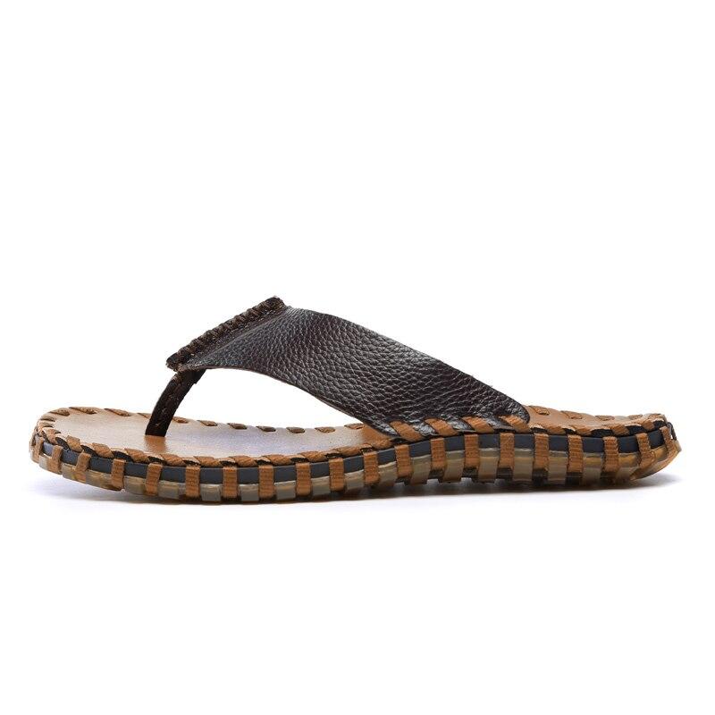Chegada Novos Homens Hombre Sapatos Zapatos Masculino Couro De Primavera Do 9066 Praia Dark khaki Brown Alta Genuíno Qualidade brown Casuais Chinelos 9066 9066 Verão Sandálias rr54qw